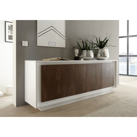 Amber III - white and oak cognac 4 door modern sideboard