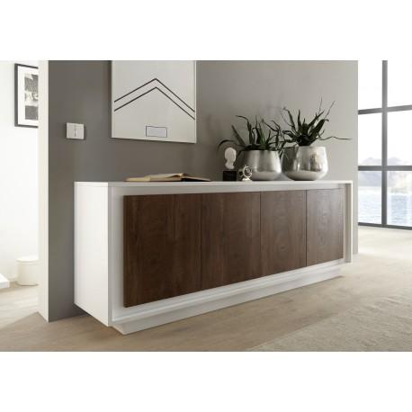 amber iii modern sideboard in white and oak cognac sideboards 2550 sena home furniture. Black Bedroom Furniture Sets. Home Design Ideas