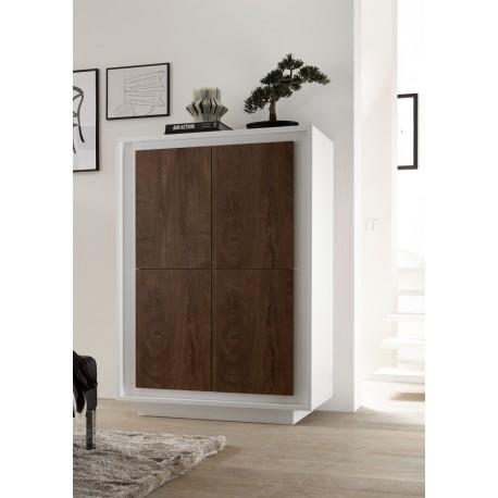 Amber III - white and oak cognac 4 door modern storage cabinet