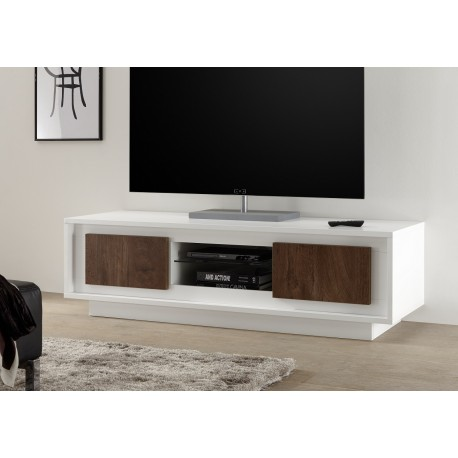 Amber III - modern TV unit with cognac oak fronts