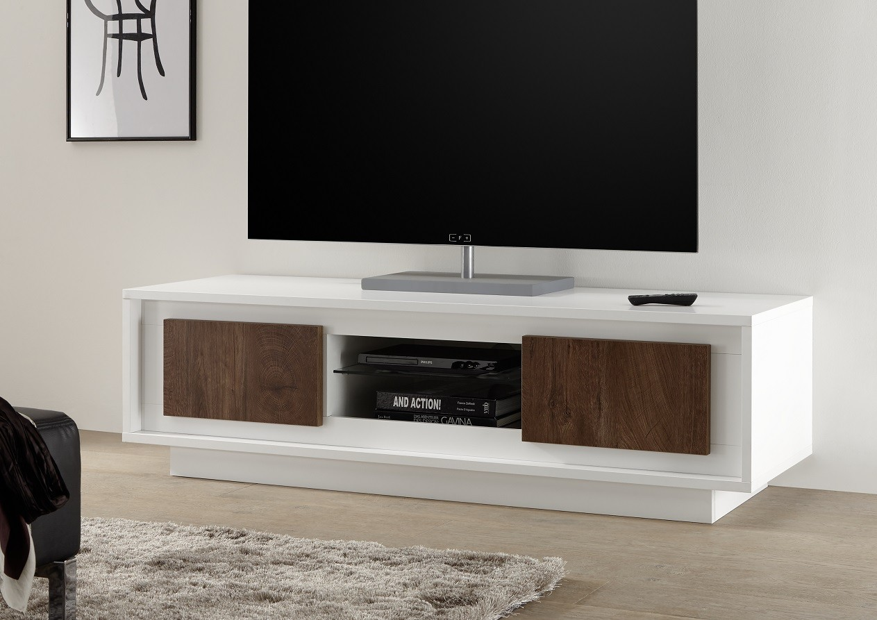 Amber Iii Modern Tv Stand In White And Oak Cognac Finish  # Meuble Tv Wenge But