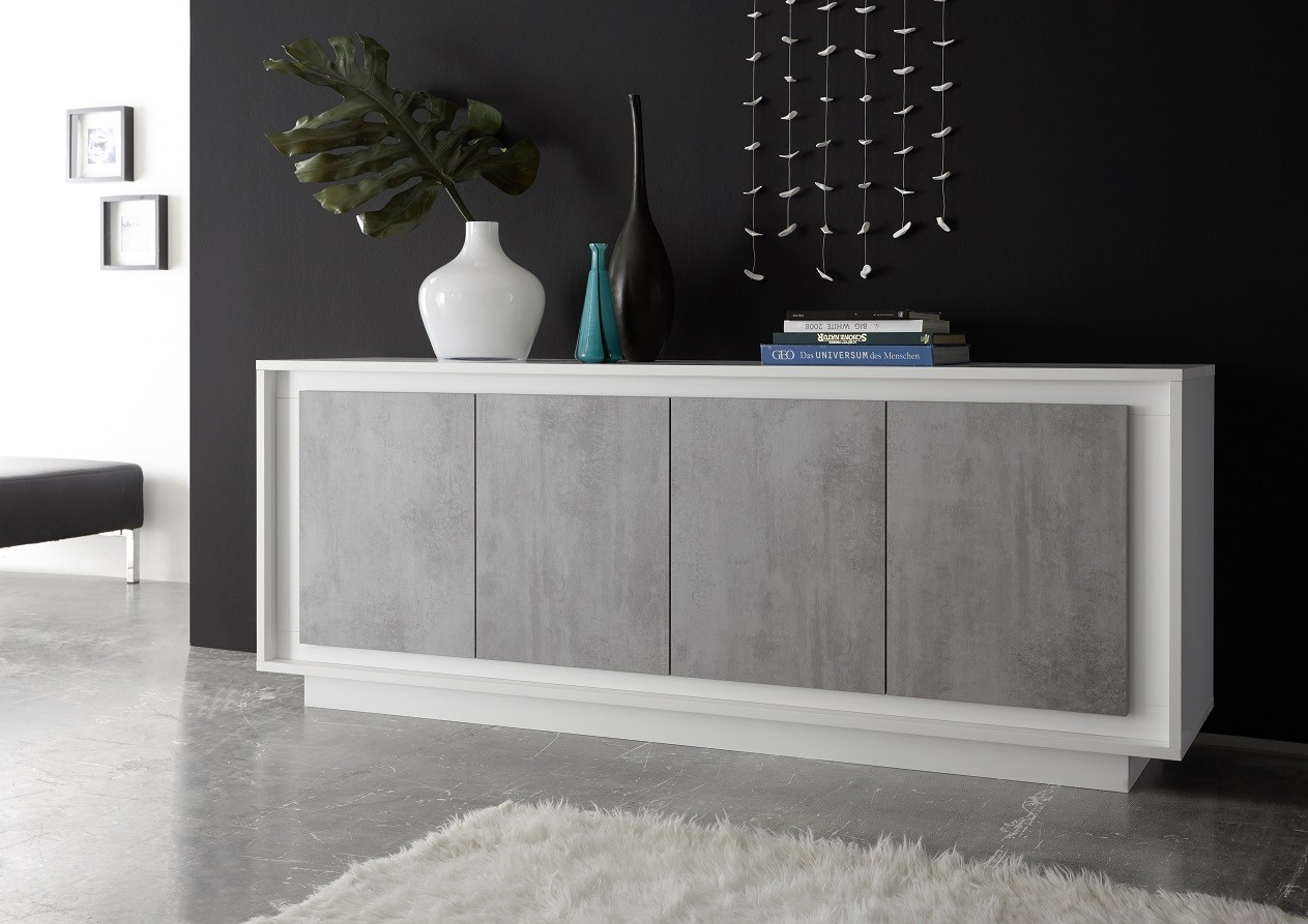 Amber Iv Modern Sideboard With Stone Imitation Fronts