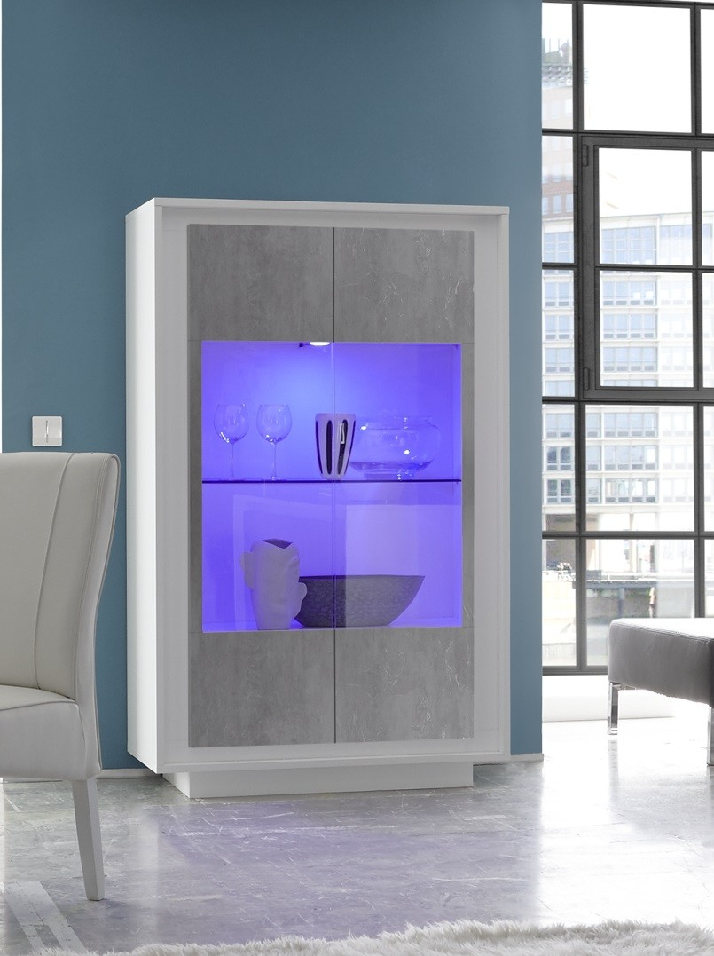 Amber Iv Modern Display Cabinet With Stone