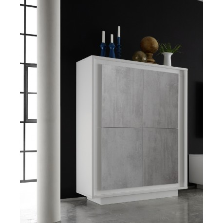 Amber IV - 4 door modern storage cabinet with stone imitation fronts