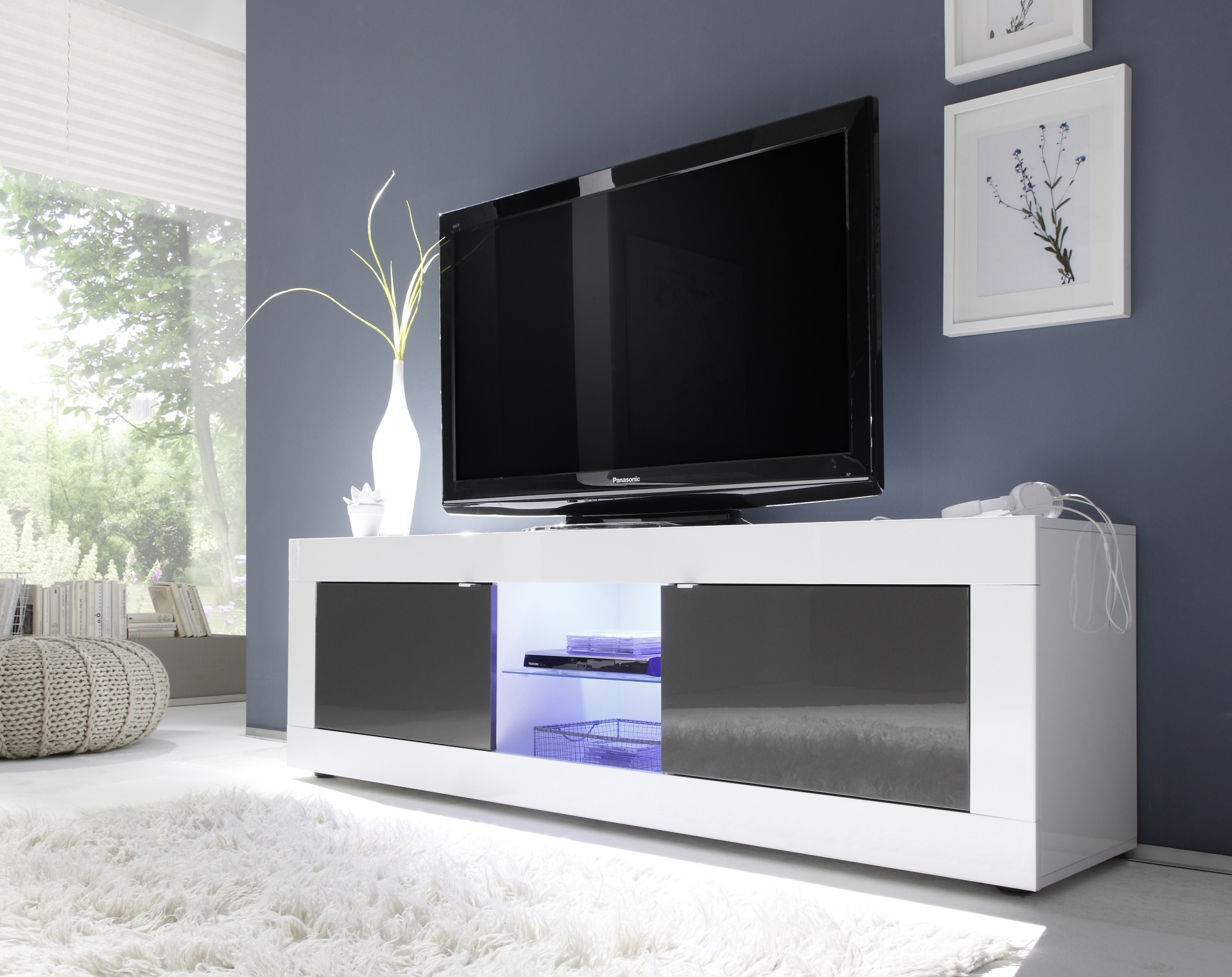Dolcevita Ii White And Grey Gloss Tv Stand Tv Stands Sena Home  # Meuble Tv Multimedia
