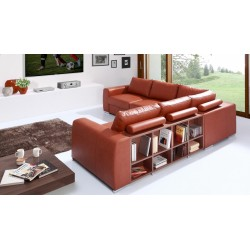 Biblio L-Shaped Modular Sofa with Decorative Bookshelves