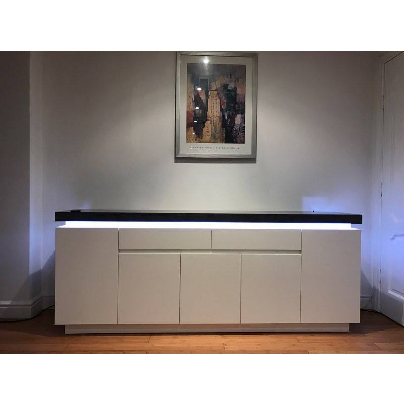 Atena Iii 200 Cm Matt Sideboard With Led Lights And Stone Imitation