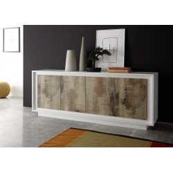 Amber V modern sideboard in White and Natural wood finish
