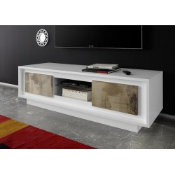 Amber V modern TV Stand in White and natural wood finish