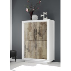 Amber V modern storage cabinet in White and natural wood finish