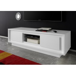 Amber VI modern TV Stand in white lacquer finish