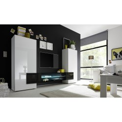 Incastro - modern TV wall set in white and black gloss finish
