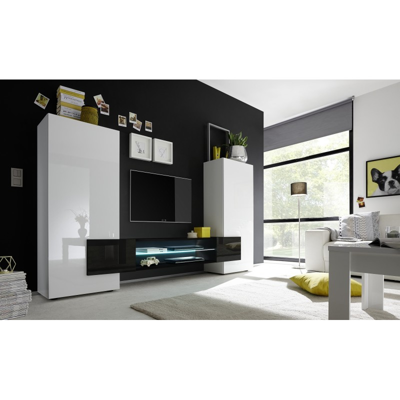 Incastro modern tv wall set in white and black gloss for Modern tv set furniture