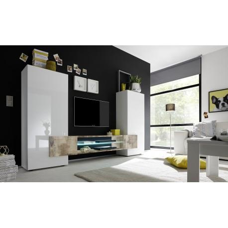 Incastro II - modern TV wall set in white and oak pero finish