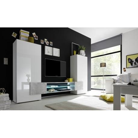 Incastro III - modern TV wall set in white and stone imitation finish