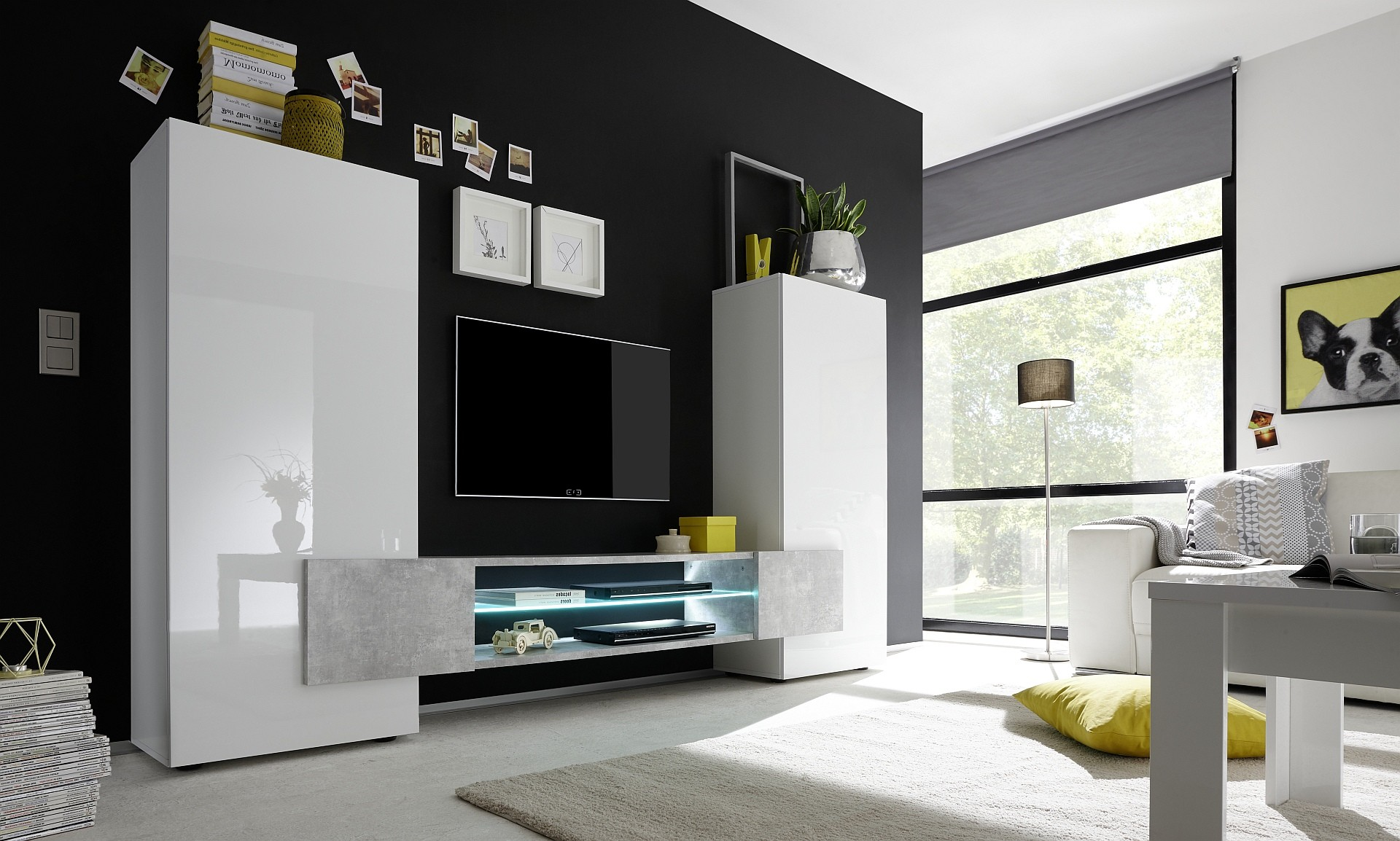 Incastro Iii Modern Tv Wall Set In White And Stone Imitation  # Meuble Tv Ovio