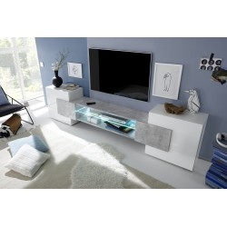 Incastro IV - modern TV wall set in white and stone imitation finish