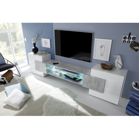 Incastro IV - modern TV wall set in white and stone imitation finish