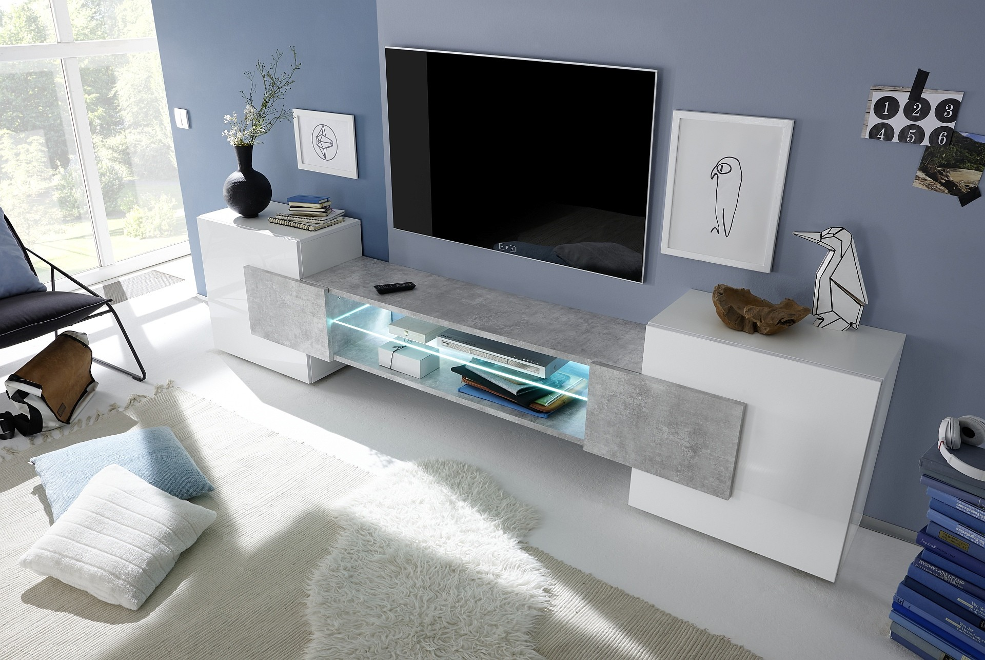 Incastro Iv Modern Tv Wall Set In White And Stone Imitation  # Meuble Tv Stone