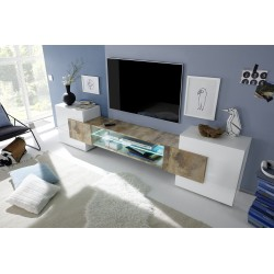 Incastro V - modern TV wall set in white and oak pero finish