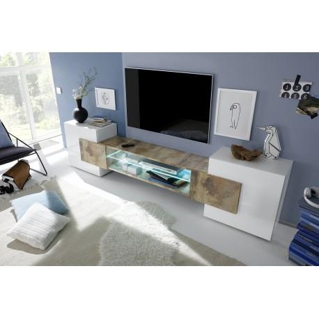 Incastro V - modern TV wall set in white and oak pero finish