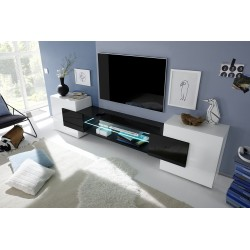 Incastro VI - modern TV wall set in white and black gloss finish