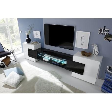 Incastro VI - modern TV wall set in white and black gloss finish