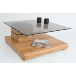 Amadeo II - glass top coffee table and wild oak