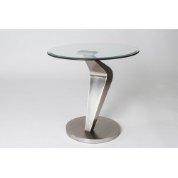 Jos - glass and brushed steel side table
