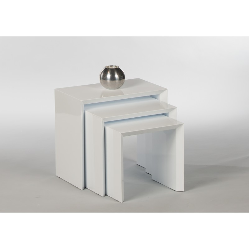 Modern Design High Gloss White White Glass Nest Of 3: Treviso -contemporary Nest Of 3 Tables In Gloss Lacquer