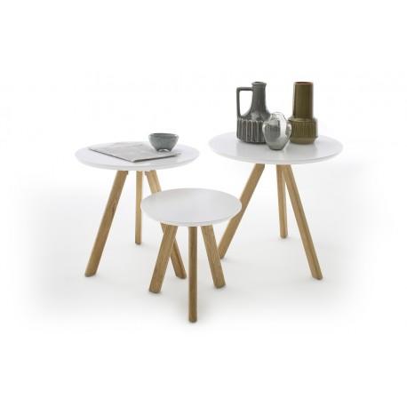 Sino - contemporary nest of 3 tables in matt lacquer