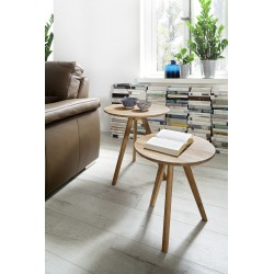 Geny - contemporary nest of 2 tables in oiled oak finish