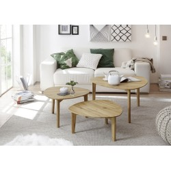 Camillia - contemporary nest of 3 tables in oiled oak finish