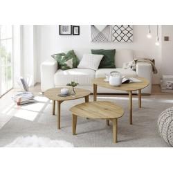 Camillia - contemporary nest of 3 tables in oiled oak finish