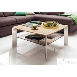 Nelly - Oak coffee table with stainless steel legs