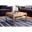 Mona - Oak coffee table with stainless steel legs