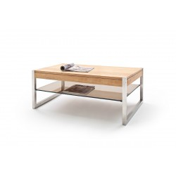 Mona II - Oak coffee table with stainless steel legs