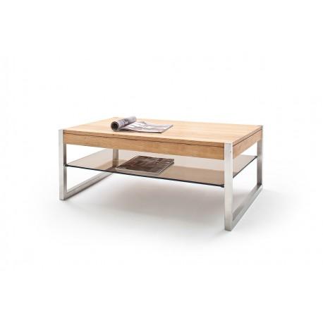 Mona II - Oak coffee table with stainless steel legs