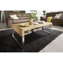 Hilary - Oak coffee table with stainless steel legs