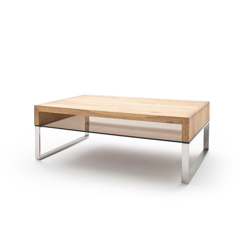 Glass Coffee Table With Stainless Steel Legs: Hilary Oak Coffee Table With Stainless Steel Legs
