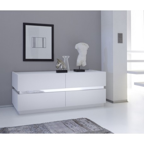 Rex III - lacquered low chest of drawer with chrome inserts