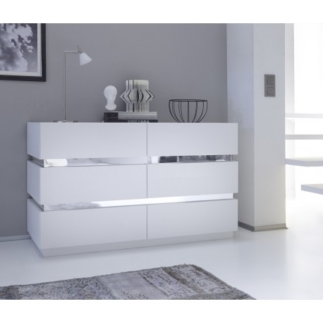 Rex II - lacquered chest of drawer with chrome stripes