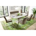 Abra taupe lacquered extendable dining table