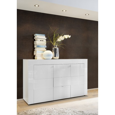 Easy 138cm two door and three drawers high gloss sideboard