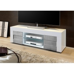 Easy  138cm High Gloss TV Unit with stone imitation fronts