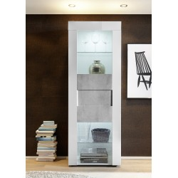 Easy II - narrow display cabinet in high gloss with stone imitation fronts