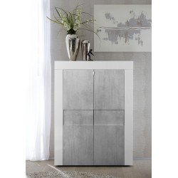 Easy II - white gloss highboard with stone imitation fronts