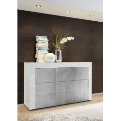 Easy II - 138cm three door high gloss sideboard with stone imitation fronts