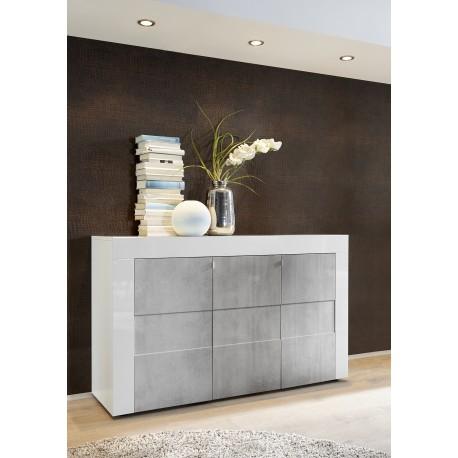 Easy II - 138cm three door high gloss sideboard with stone imitation fronts