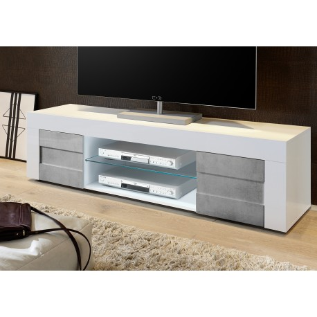 Easy II - 138cm High Gloss TV Unit with stone imitation fronts